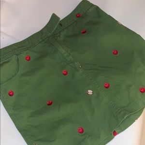 J  Crew Green Casual khaki skirt. apple embroidery